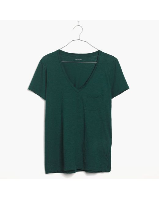 Madewell | Green Whisper Cotton V-neck Pocket Tee | Lyst