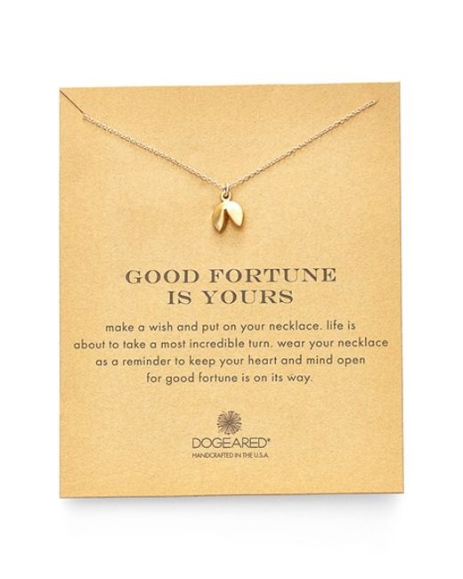 Dogeared | Metallic Fortune Cookie Pendant Necklace | Lyst