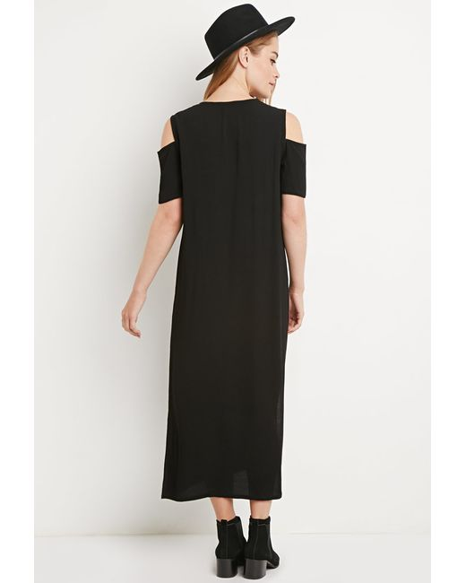 Forever 21 Sleeve Dress: Forever 21 Cutout-sleeve Midi Dress In Black