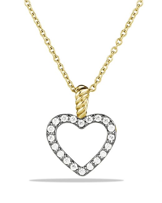David Yurman | Metallic Cable Collectibles Heart Pendant With Diamonds In Gold On Chain | Lyst