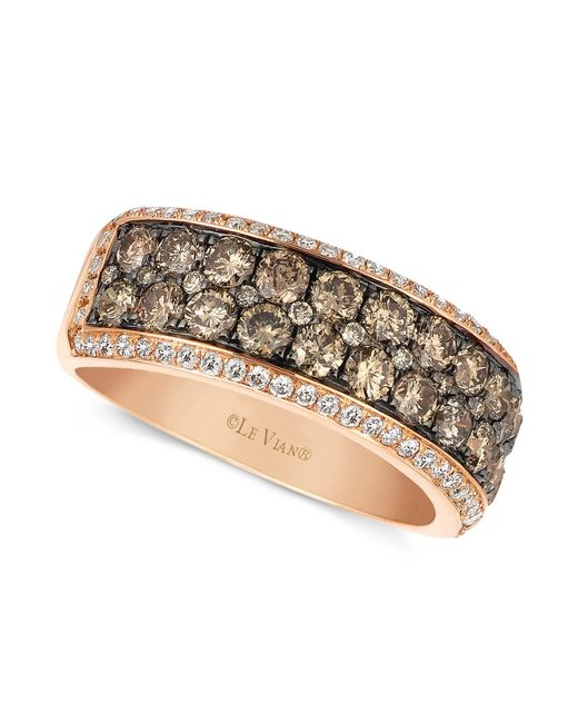 Le Vian | Brown Chocolate And White Diamond 2-row Band (1-1/2 Ct. T.w.) In 14k Rose Gold | Lyst