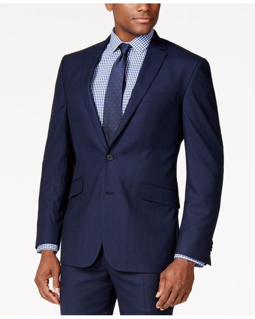 Kenneth Cole Reaction Tonal Blue Shadow Check Slim Fit