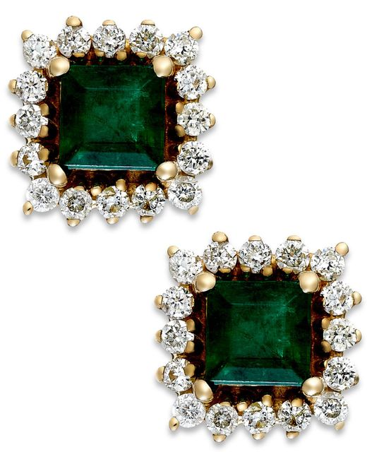 Macy's | Green Emerald (5/8 Ct. T.w.) And Diamond (1/3 Ct. T.w.) Stud Earrings In 14k Gold | Lyst