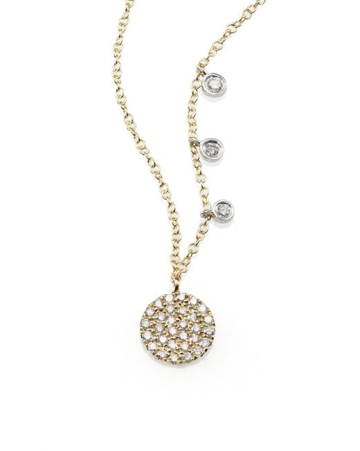 Meira T | Metallic Diamond & 14k Yellow Gold Disc Necklace | Lyst