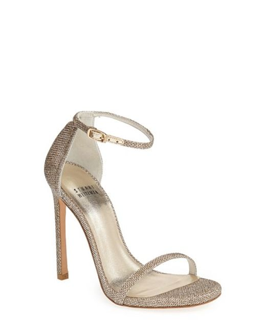 Stuart Weitzman | Black Nudist Metallic Leather D'Orsay Sandals | Lyst