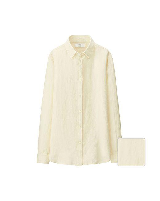 Uniqlo Women Premium Linen Long Sleeve Shirt In Beige