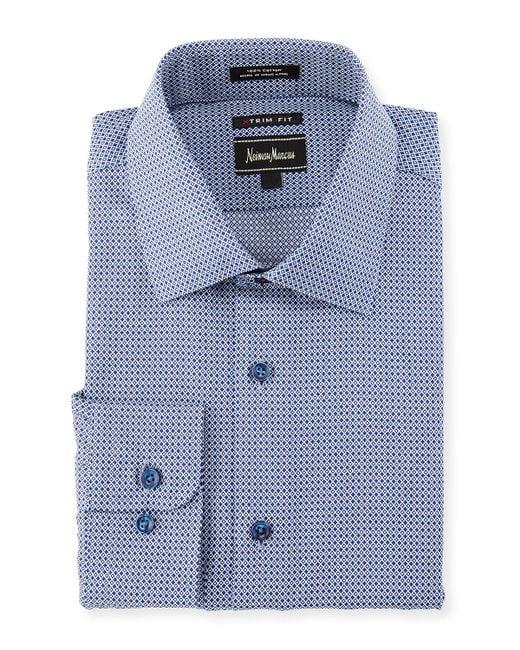 Neiman marcus extra trim fit diamond print dress shirt in for Extra trim fit dress shirt