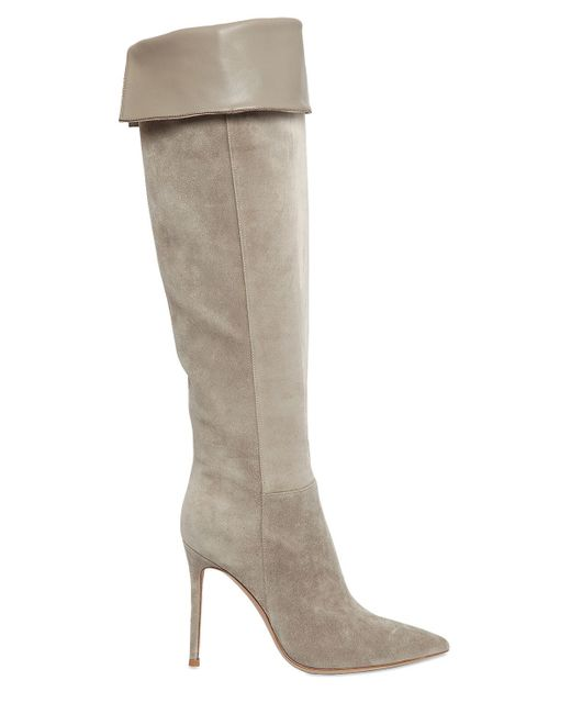 gianvito 100mm suede knee high boots in beige lyst
