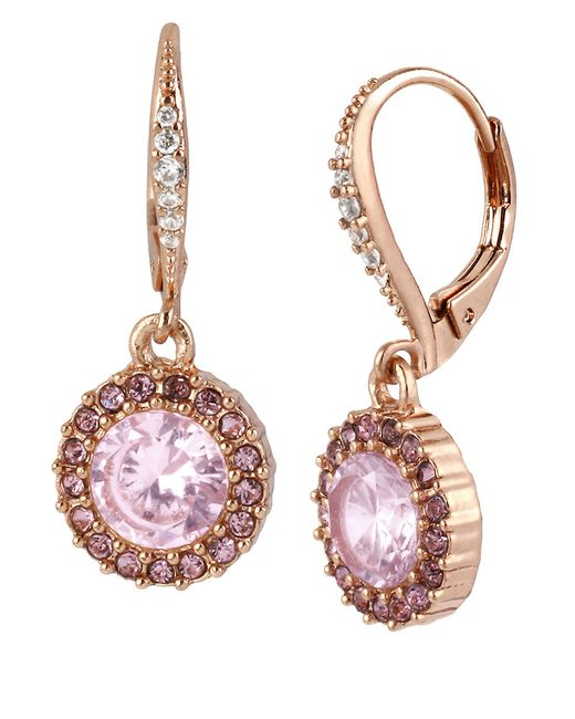 Betsey Johnson | Pink Rose Goldtone And Rose Crystal Round Drop Earrings | Lyst