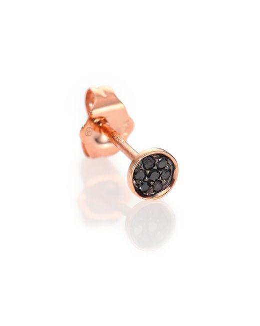 Sydney Evan | Metallic Black Diamond & 14k Rose Gold Tiny Disc Single Stud Earring | Lyst