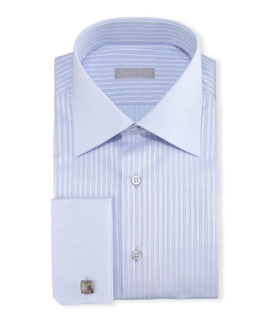 Stefano ricci contrast collar french cuff striped dress for Light blue french cuff dress shirt