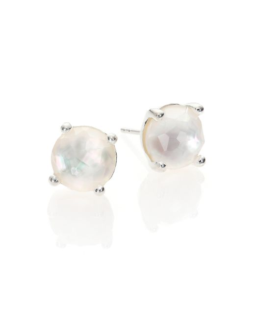 Ippolita | Metallic Rock Candy Mother-of-pearl, Clear Quartz & Sterling Silver Mini Stud Earrings | Lyst