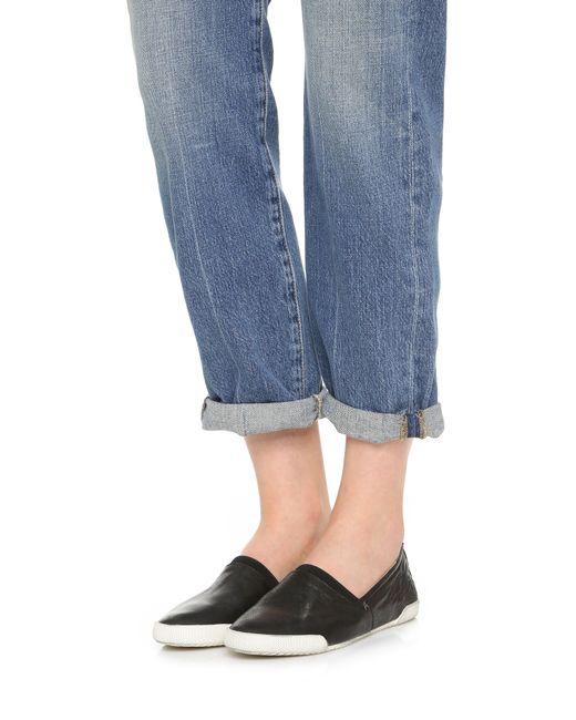 Frye Melanie Slip On Sneakers In Black Save 7 Lyst