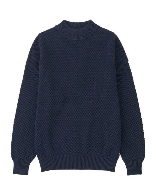Uniqlo Women's Cotton Oversized High Neck Sweater in Blue ...