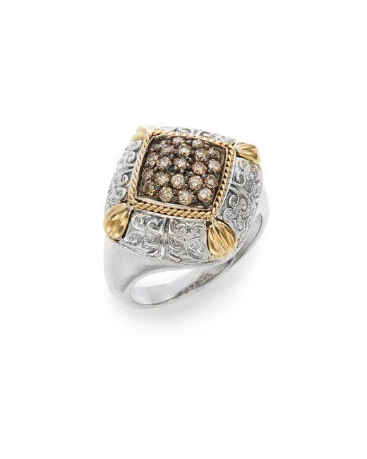 Effy | Metallic 925 Brown Diamond, Sterling Silver & 18k Yellow Ring | Lyst