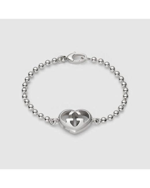 Gucci | Metallic Bracelet With Heart Charm | Lyst