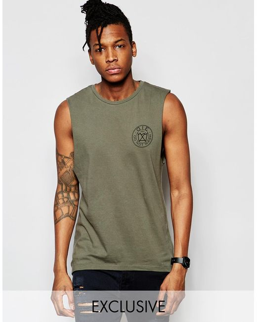 D i e cut off sleeves t shirt chest logo in military for How to cut sleeves off a shirt