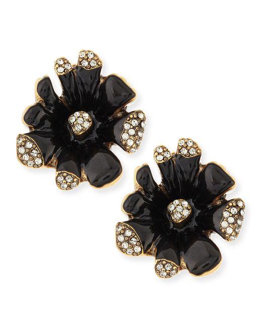 Oscar de la Renta | Black Crystal Firework Stud Earrings | Lyst