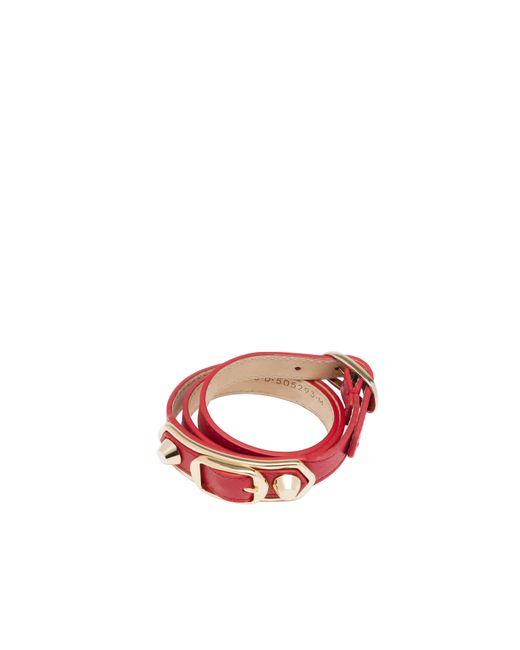 Balenciaga | Red Classic Metallic Edge Bracelet Triple Tour | Lyst