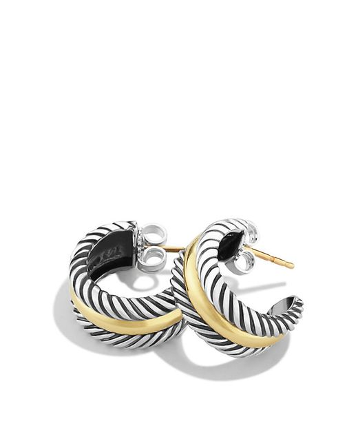 David Yurman | Metallic Cable Collectibles Hoop Earrings With 14k Gold | Lyst