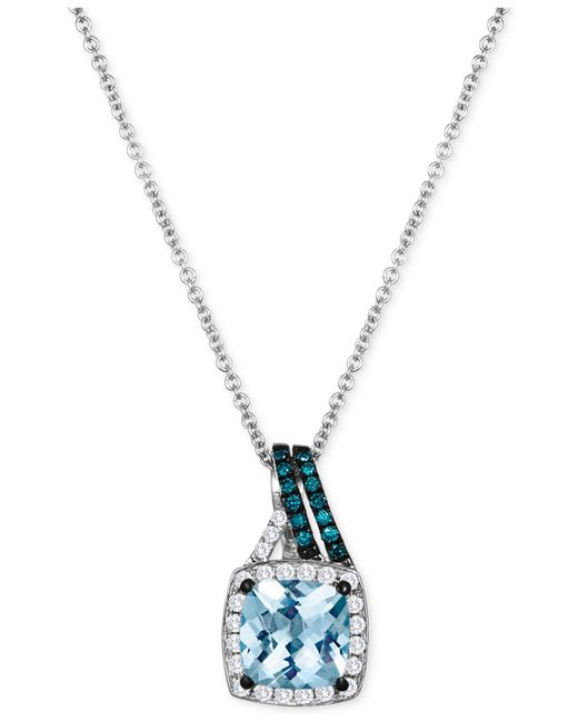 Le Vian | Blue Aquamarine (1-1/4 Ct. T.w.) And Diamond (1/5 Ct. T.w.) Pendant Necklace In 14k White Gold | Lyst