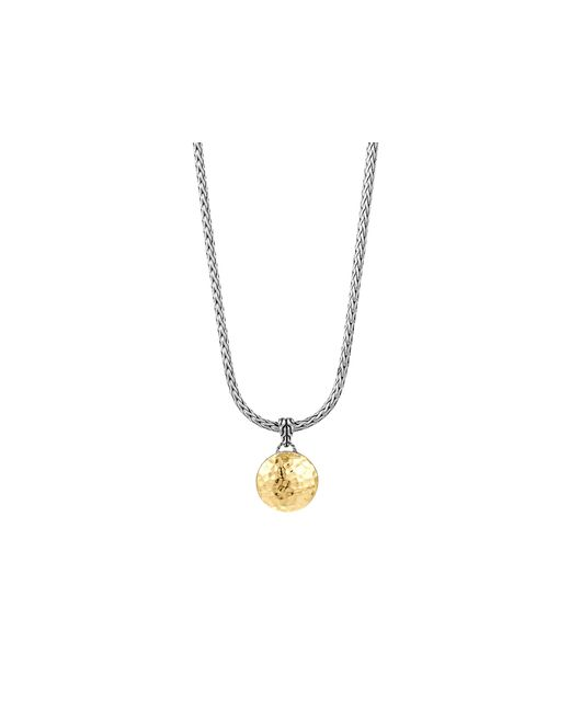 John Hardy | Metallic Sterling Silver And 18k Gold Palu Round Pendant On Chain Necklace, 16"