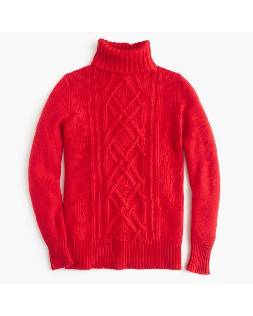 J.Crew | Red Petite Cambridge Cable Turtleneck Sweater | Lyst