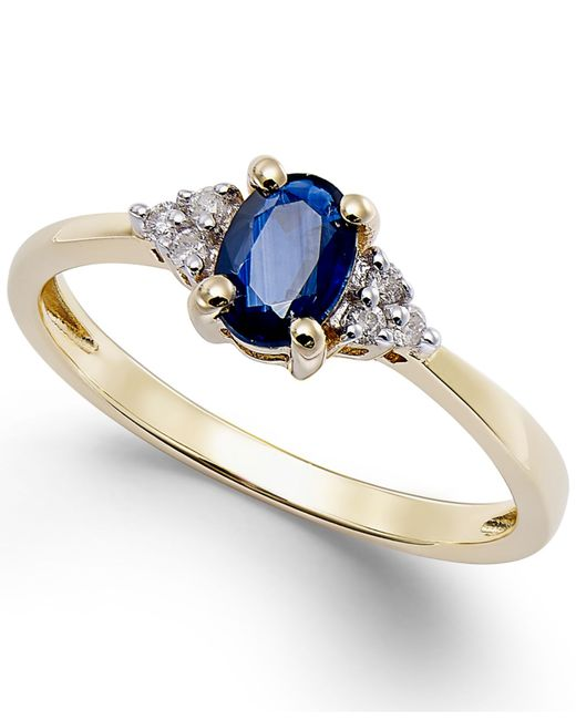 Macy's | Blue Sapphire (1/2 Ct. T.w.) And Diamond Accent Ring In 10k Gold | Lyst