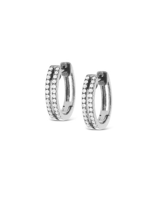 KC Designs | White 14k Gold And Diamond Two Row Mini Hoop | Lyst