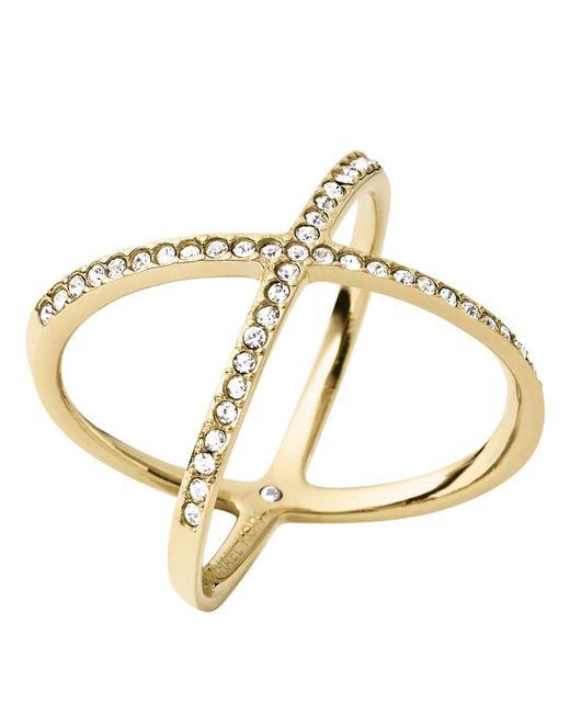 Michael Kors | Metallic Pave X Ring | Lyst