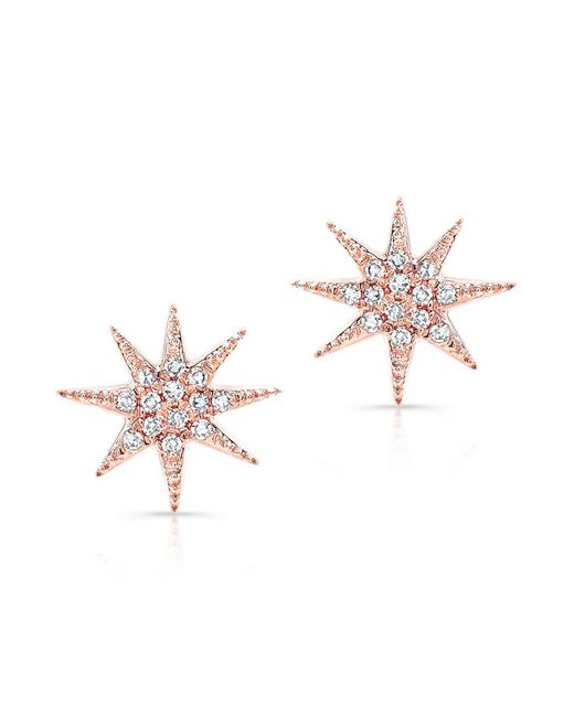 Anne Sisteron - Metallic 14kt Rose Gold Diamond Glimmer Star Stud Earrings - Lyst