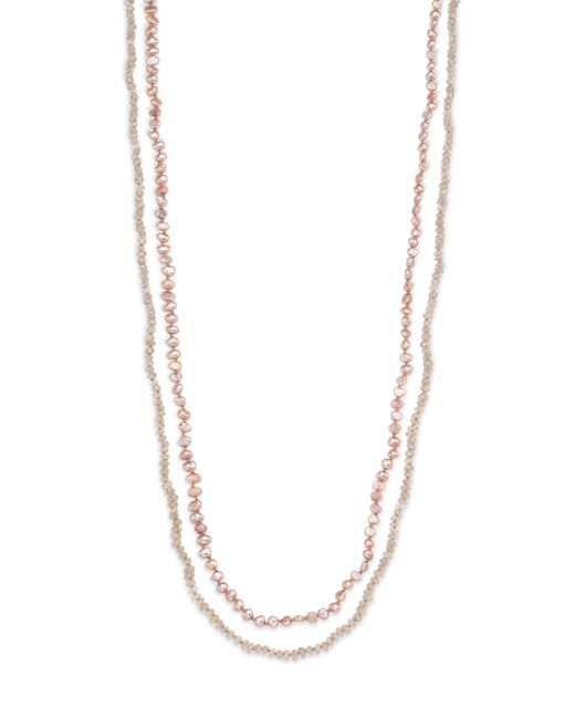 Lena Skadegard | Metallic 5mm Pink Potato Pearl & Zircon Long Beaded Strand Necklace | Lyst