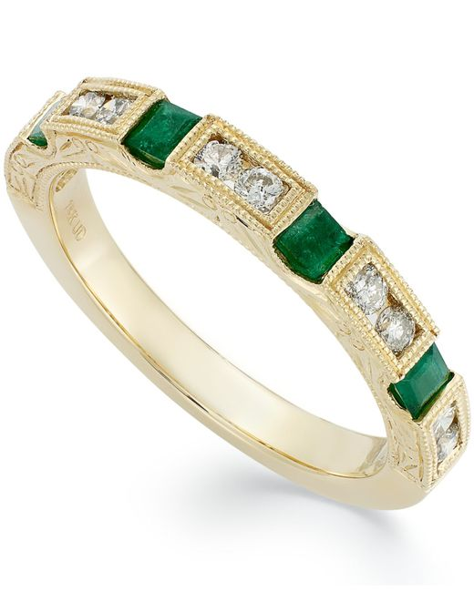Macy's | Metallic 14k Gold Emerald (1/3 Ct. T.w.) And Diamond (1/3 Ct. T.w.) Alternating Ring | Lyst