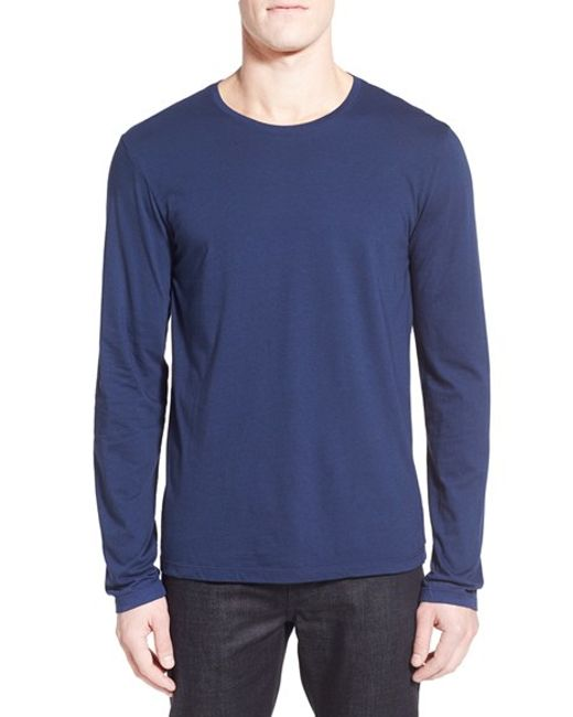 Michael stars long sleeve crewneck t shirt in blue for men for Michael stars tee shirts