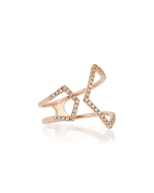 EF Collection | Pink Split Chevron Diamond Rose Gold Ring | Lyst