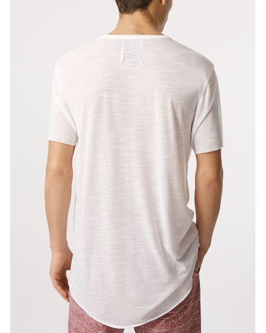 Topman short sleeve slubby long line t shirt in white for for Long line short sleeve t shirt