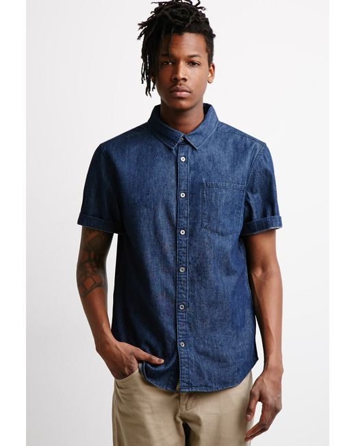 Forever 21 | Blue Classic Denim Shirt for Men | Lyst