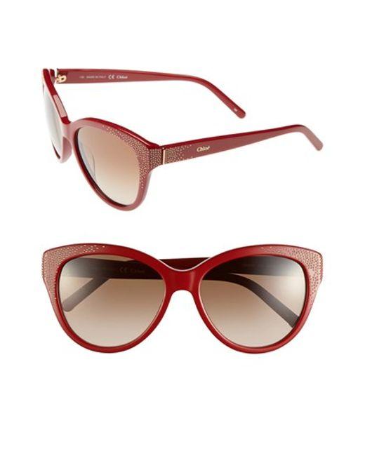 Chloé | Red 'suzanna' 56mm Cat Eye Sunglasses | Lyst