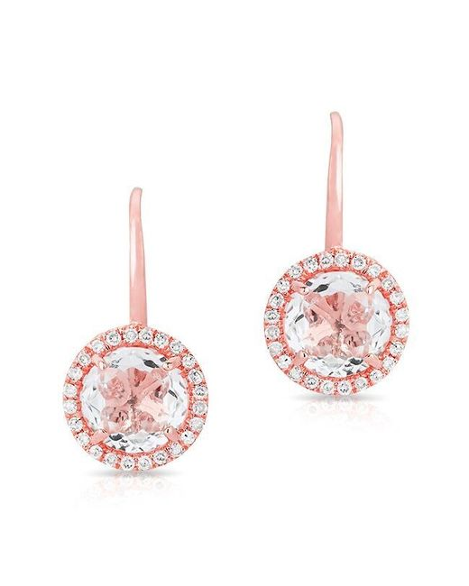Anne Sisteron - Pink 14kt Rose Gold Round White Topaz Diamond Earrings - Lyst
