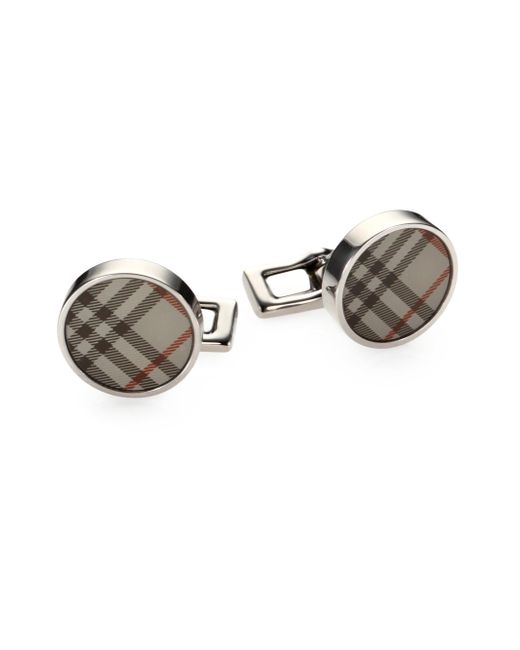 Burberry | Natural Trench Check Round Cuff Links for Men | Lyst
