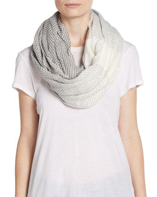 Herringbone Infinity Scarf Knitting Pattern : Modena Herringbone Infinity Scarf in Gray Lyst