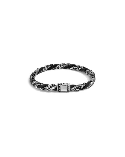John Hardy | Classic Chain Sterling Silver Twisted Chain Bracelet With Black Leather Cord for Men | Lyst