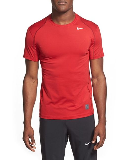 Nike | Red 'pro Cool Compression' Fitted Dri-fit T-shirt for Men | Lyst
