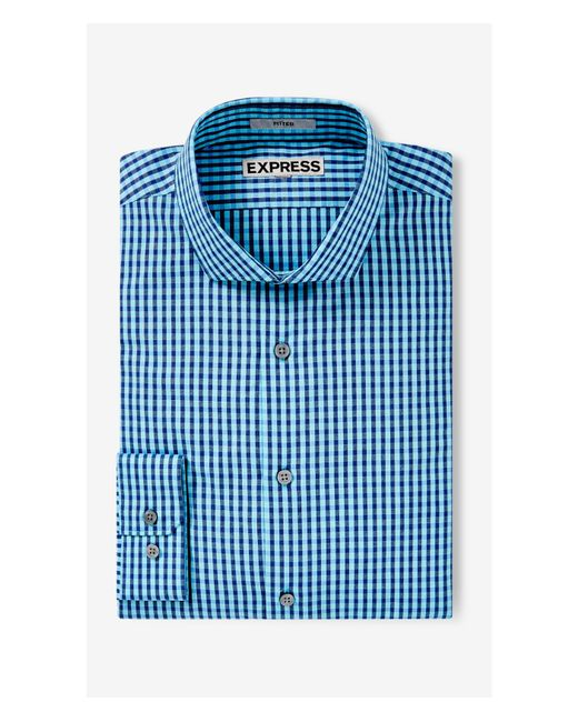 Express fitted small check dress shirt in teal for men lyst for Teal mens dress shirt
