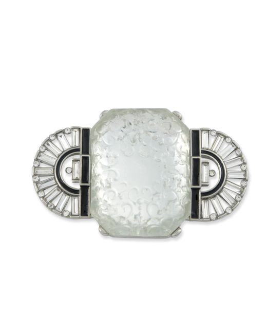 Kenneth Jay Lane | Metallic Art Deco Frost Crystal Brooch | Lyst