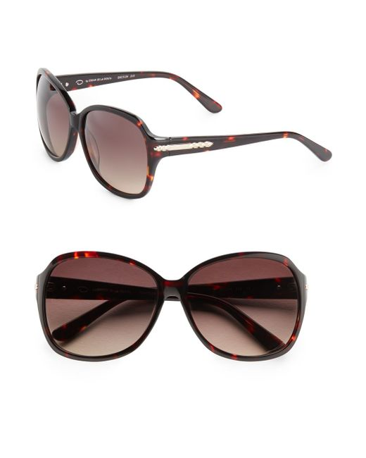 O By Oscar De La Renta | Brown 60mm Oversized Sunglasses | Lyst