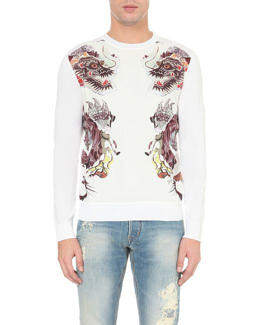Just cavalli Dragon-print Knitted Cotton Jumper in White ...