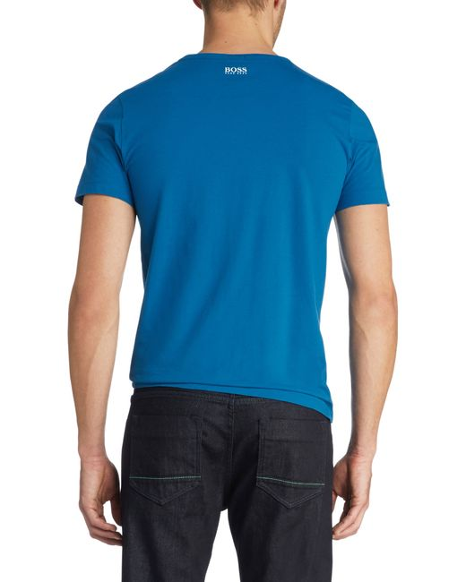 BOSS Green | Blue Cotton T-shirt 'tee 2' for Men | Lyst