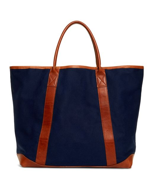 Brooks Brothers | Blue Canvas And Leather Tote | Lyst