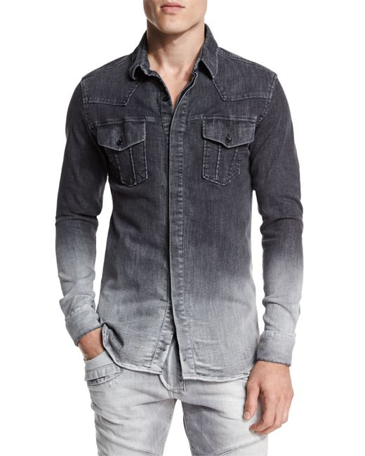 Balmain ombre denim button down shirt in gray for men for Denim button down shirts